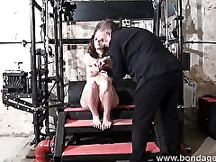 Amateur brunette subbie tied up with ropes