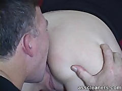 Pleasuring mistress by nicely licking her ass hole