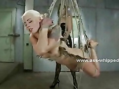 Lesbian whore tortured by her nasty mistress in lezdom bondage sex videoclip and dirty pleasures