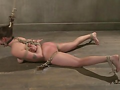 Tied down BDSM fetish sub loves rough sex