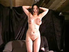 Gameshow punishments for breast whipped and spanked busty asian slavegirl Tigerr