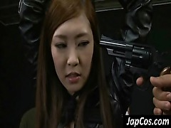 Hot asian slave gets tits rubbed