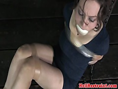 Bonded skank humiliated at dungeon