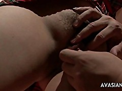 Asian Schoolgirl Is Bound On Chair By A Dude Who Helps Her Cum
