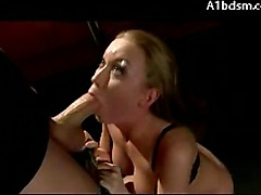 Busty Blonde With Tied Arms On High Heels Spanked Sucking Cock Licking Masters Shoes In The Dungeon