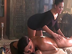 Big boobed brunettes turning massage into sensual love making