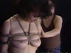 Cute Asian babe gets tied up to be boob teased