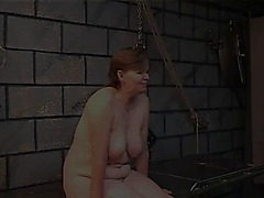 Old whore&s filthy ass goes red from spiked glove spanking in dungeon