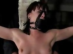 Girl With Tied Arms Mask Jerking Off Masters Cock Tortured With Weight