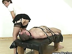 Mistress stroking helpless guys cock before blowjob