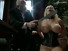 Hot busty blonde adores playing BDSM games and anal with her elderly master