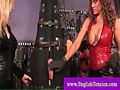 Hanged upside down and cbt by two dominas