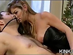 Busty hot sexy babe made into obedient slave