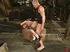 Blonde busty sex slave forced to fuck in rough spanking sex by bondage master
