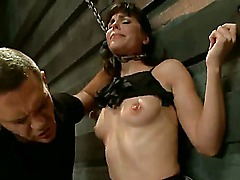The beautiful bimbo Bobbi Starr gets bound by the merciless guy Nacho Vidal that stimulates her pussy rudely and then bends over for the rudest pussy penetration ever