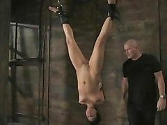 Sexy brunette with small tits tied upside down fucked in all heir tight holes suspended