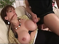 Mature lingerie slut tied up and groped by house burgler