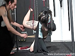 Asian bondage babe Devils whipping and suspension of young oriental fetish slave