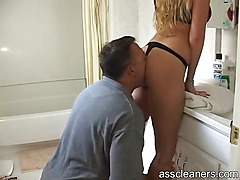 Mistress asks a man to clean her ass by licking it