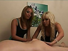 Cfnm hot masseuse babes get off