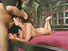 Lady with round tits tied spanked filled with toys then fucked