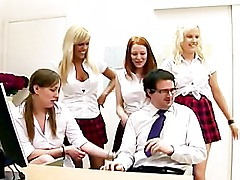 Hot cfnm schoolgirls jerk off guy