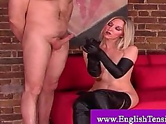 Cock tease with leather handgloves