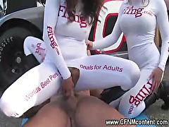CFNM whores sucking cocks at the pits