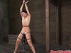 Vertical tied up petite sub flogged