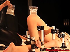 Lezdom mistress uses ice play on her sub