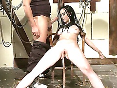 Enjoy checking up breathtaking bondage scene with Gina Lorenzza. Lustful obedient bitch is getting her face fucked very hard by perverted hugecocked master right on cam.